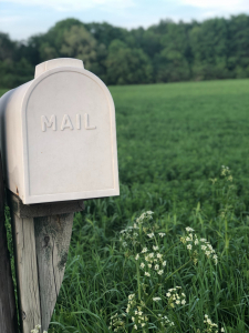 White mailbox planted in a green field photo